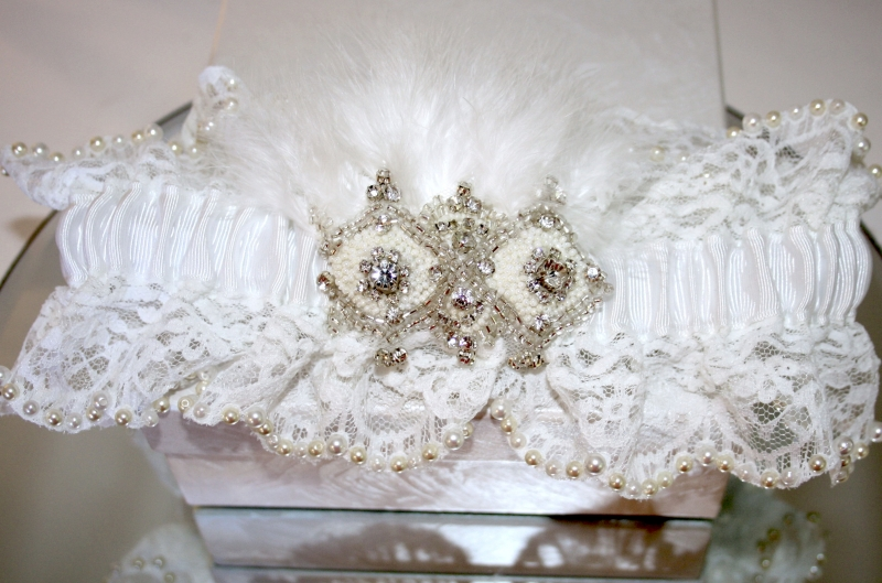 Anna Crystal Pearl and Feather Garter Natalya James