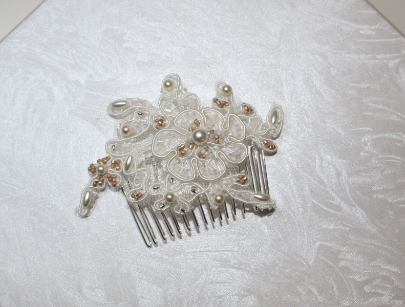 Katie Lace and Champagne Beaded Hair Slide Natalya James