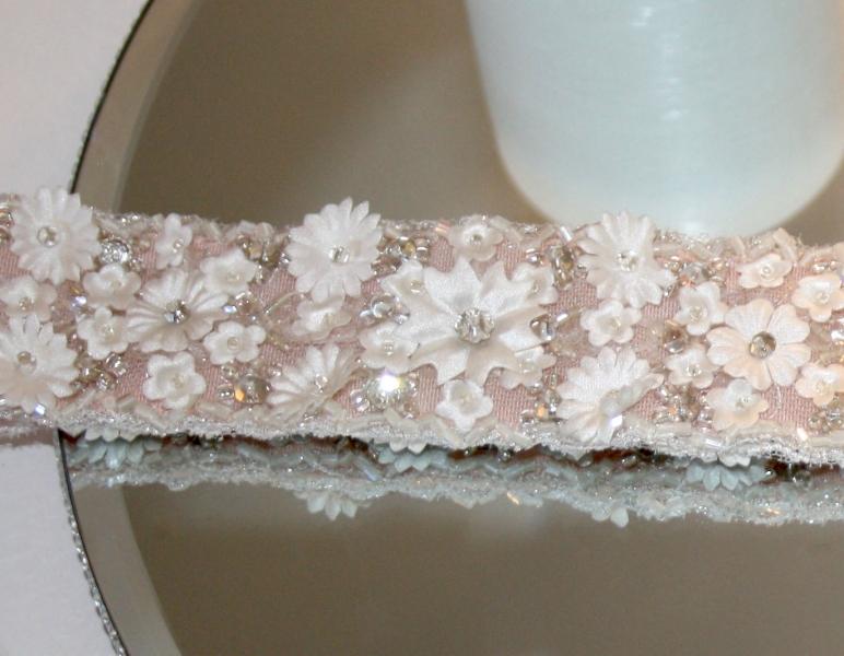 Jasmine Flower Beaded Pink Sash Close Up Natalya James
