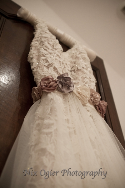 Elaine Dress cappuccino with Nieve overskirt and rose belt