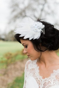 Feather and diamante hair slide, photography by Sarah Brookes photography