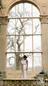 Georgette and satin wedding dress with crystal and earl trim. photo by Sarah Brookes photography
