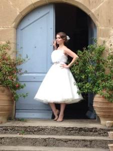 1950s tulle flower wedding dress