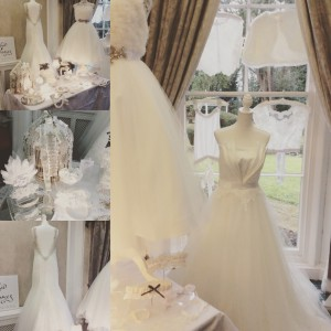 Wedding dresses and accessories on display at Sedgebrooke Hall Northamptonshire