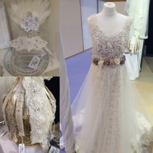 Natalya James Bridal pop up boutique bridal shop exhibiting at the National Wedding show at the NEC in Birmingham Elaine dress and Nieve Skirt  plus accessories all from Mabel Alexandra Collection