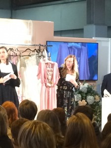 Natalya James' Margot wedding dress on the Style Catwalk as 'top pick of the show' at The National Wedding Show Birmingham NEC with wedding stylist Claire Ginzler