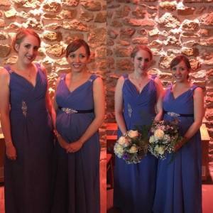 Regular bridesmaids dress altered to fit maternity (original on left)
